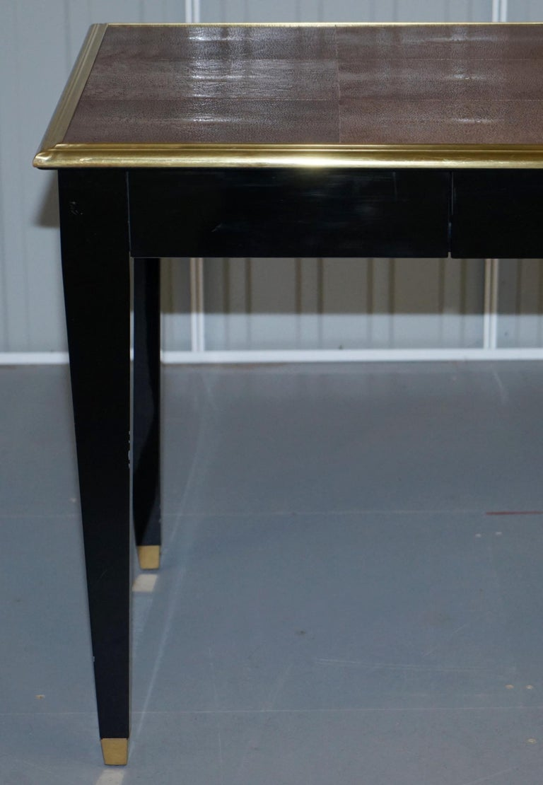 Original Shagreen Gilt Metal Writing Table Desk with Single-Drawer For Sale 2