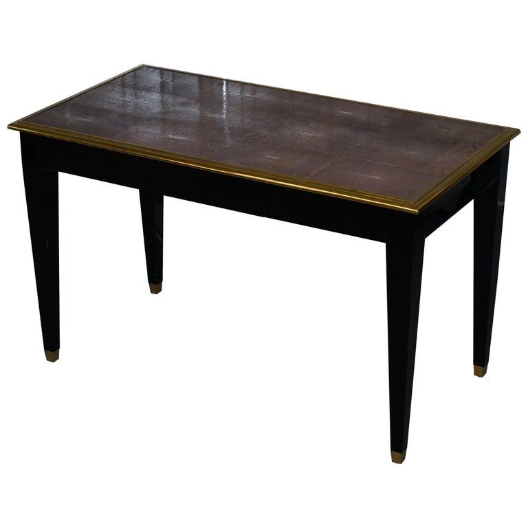 Original Shagreen Gilt Metal Writing Table Desk with Single-Drawer For Sale