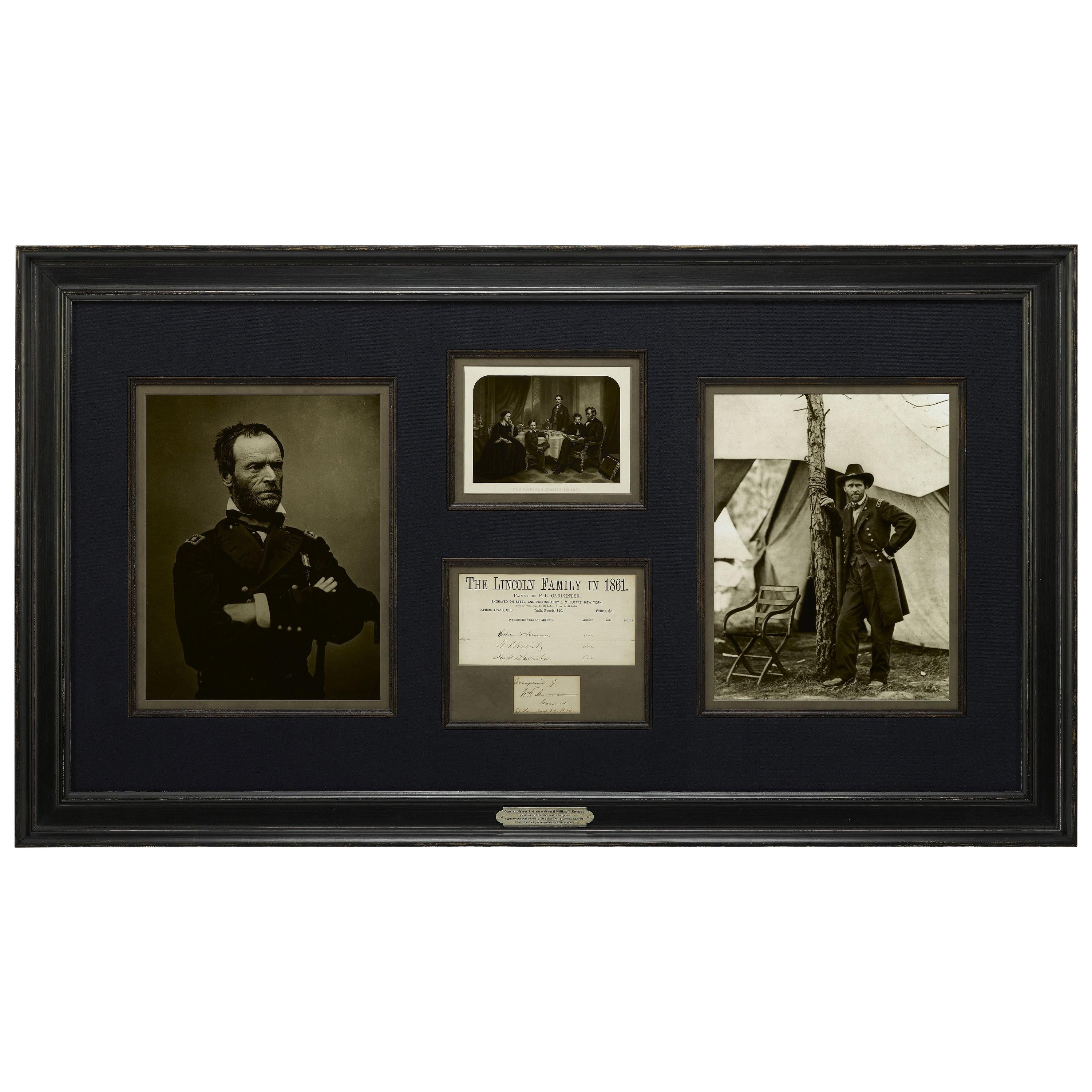 U.S. Grant and W.T. Sherman, Signed Historical Collage