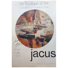 Original Midcentury Abstract Art Poster Signed by the Artist, Jacus