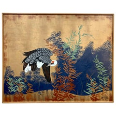 Original Signed Chinoiserie Style Painting of a Crane by Lee Reynolds