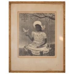 "Original Signed Doris Lee Midcentury Lithographic Print Entitled ""Dove"""