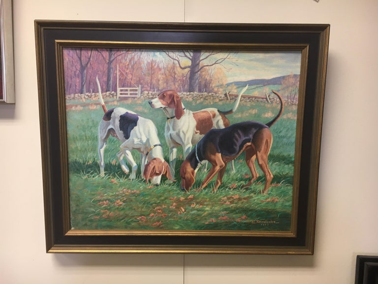 American Original Signed Edward Tomasiewicz Oil Painting Gathering of Dogs For Sale