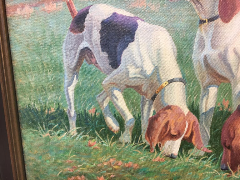 Canvas Original Signed Edward Tomasiewicz Oil Painting Gathering of Dogs For Sale
