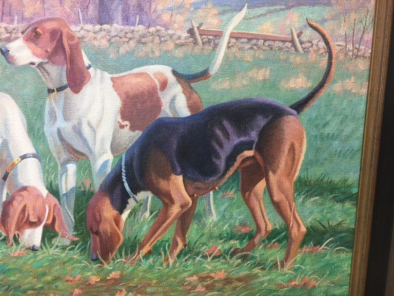 Original Signed Edward Tomasiewicz Oil Painting Gathering of Dogs For Sale 2