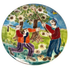 Original Signed Giovanni DeSimone, Chestnut Harvest Hand Painted Ceramic Plate