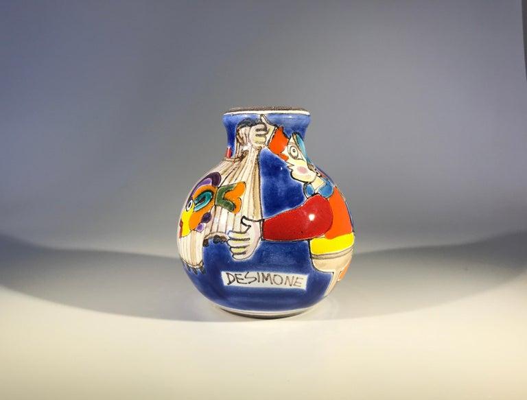 Original Signed Giovanni DeSimone Hand Painted 'Fisherman' Italian Ceramic Posy For Sale 5