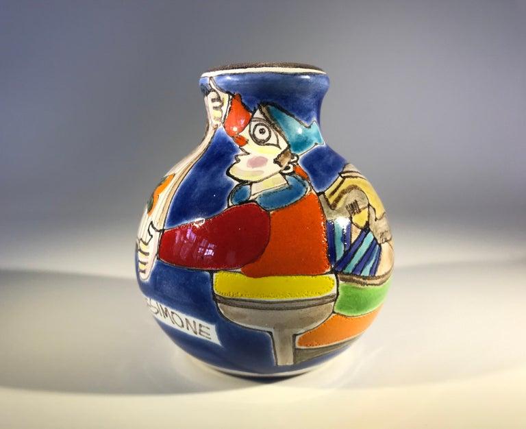Hand-Painted Original Signed Giovanni DeSimone Hand Painted 'Fisherman' Italian Ceramic Posy For Sale