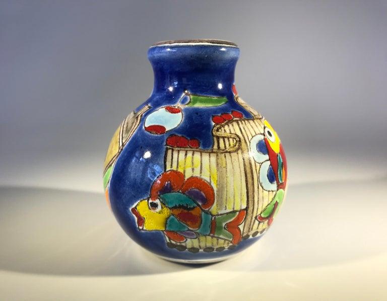 20th Century Original Signed Giovanni DeSimone Hand Painted 'Fisherman' Italian Ceramic Posy For Sale