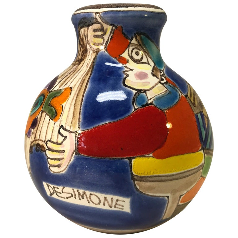 Original Signed Giovanni DeSimone Hand Painted 'Fisherman' Italian Ceramic Posy For Sale