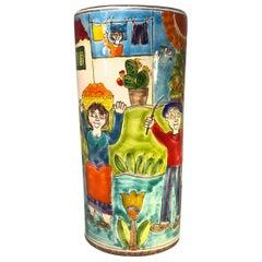 Original Signed Giovanni DeSimone Hand Painted 'Village Life' Italian Vase 1960s