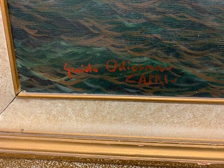 "Original Signed Guido Odierna ""Capri"" Oil on Canvas Seascape For Sale 5"