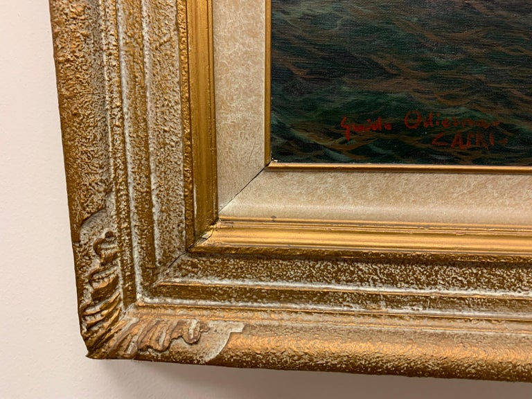 "Original Signed Guido Odierna ""Capri"" Oil on Canvas Seascape For Sale 6"