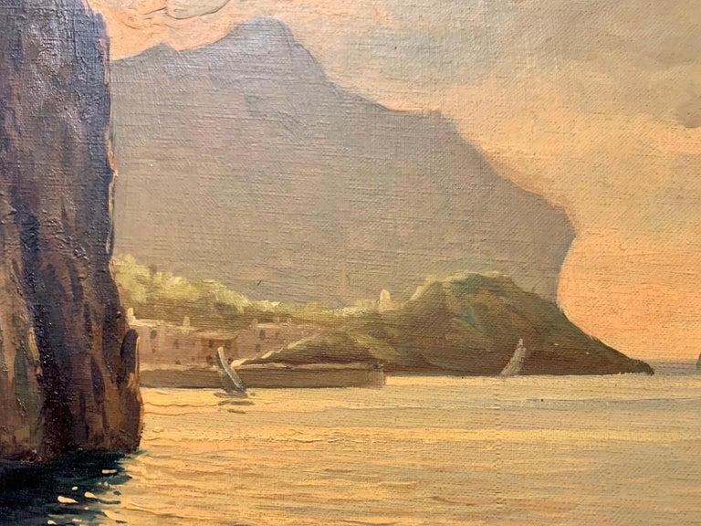 "Original Signed Guido Odierna ""Capri"" Oil on Canvas Seascape For Sale 8"