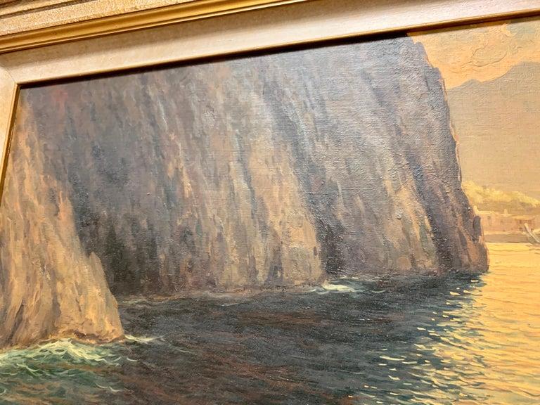 "Original Signed Guido Odierna ""Capri"" Oil on Canvas Seascape For Sale 9"