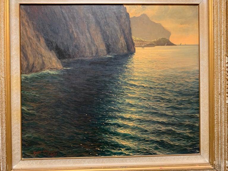 "Original Signed Guido Odierna ""Capri"" Oil on Canvas Seascape For Sale 10"