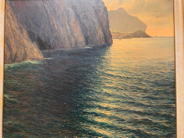 "Original Signed Guido Odierna ""Capri"" Oil on Canvas Seascape For Sale 11"