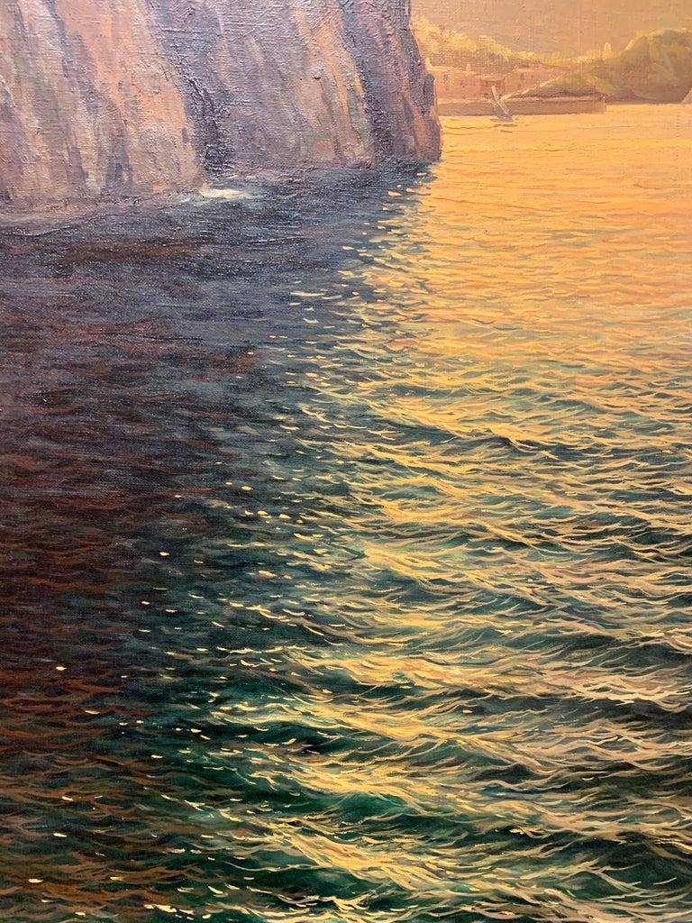 "Italian Original Signed Guido Odierna ""Capri"" Oil on Canvas Seascape For Sale"