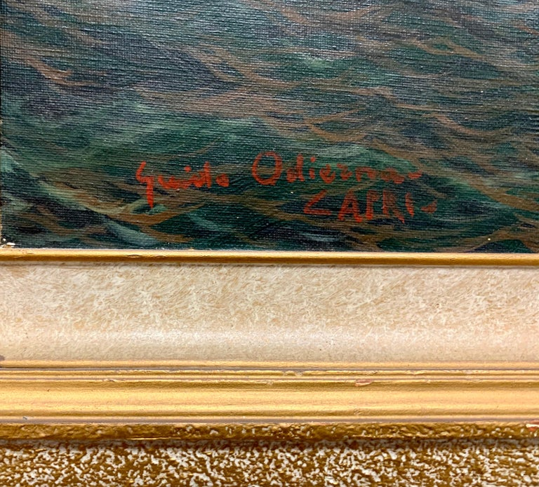 """Original Signed Guido Odierna """"Capri"""" Oil on Canvas Seascape In Good Condition For Sale In West Hartford, CT"""