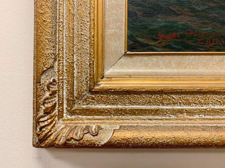 "20th Century Original Signed Guido Odierna ""Capri"" Oil on Canvas Seascape For Sale"