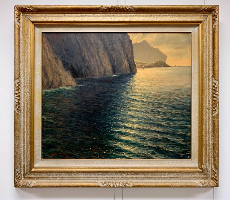 "Original Signed Guido Odierna ""Capri"" Oil on Canvas Seascape For Sale 2"