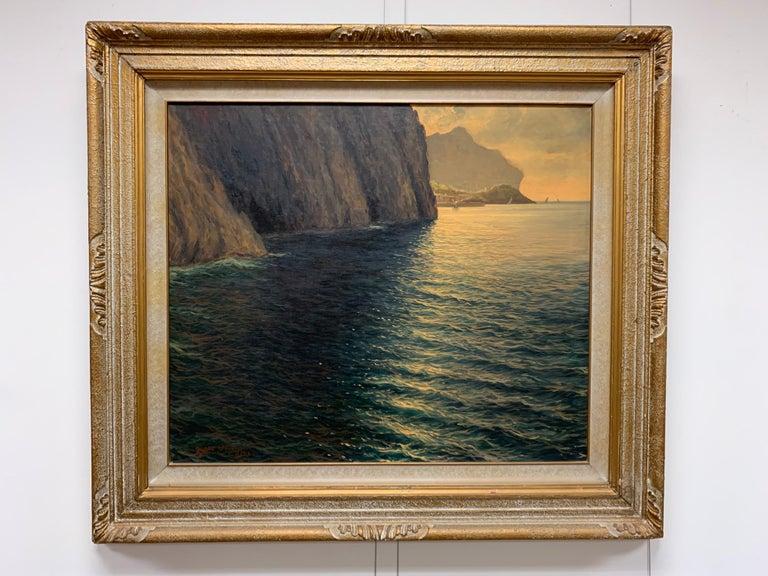 "Original Signed Guido Odierna ""Capri"" Oil on Canvas Seascape For Sale 3"