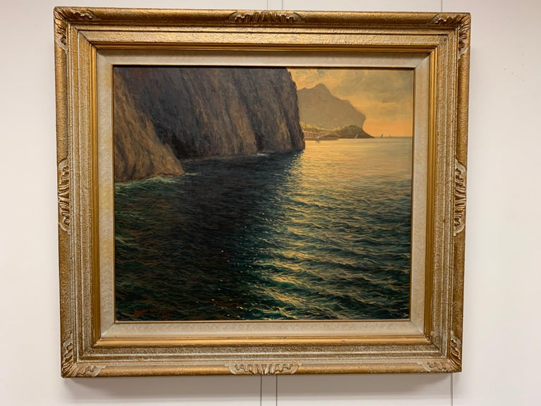"Original Signed Guido Odierna ""Capri"" Oil on Canvas Seascape For Sale 4"