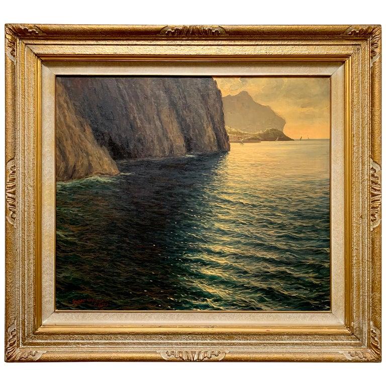"Original Signed Guido Odierna ""Capri"" Oil on Canvas Seascape For Sale"