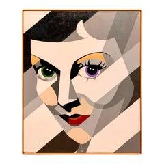Original Signed Large Portrait Painting Betty Davis Eyes