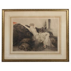 "Original Signed Louis Icart Etching Titled ""Idleness"" or Laziness"" Bear Rug 1925"
