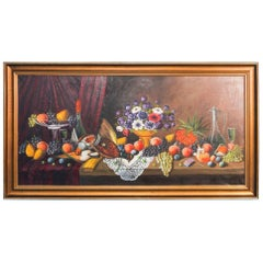 Original Signed Oil on Canvas Painting of Banquet Table Still Life