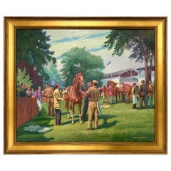 Original Signed Oil Painting Before the Steeplechase Horse Race