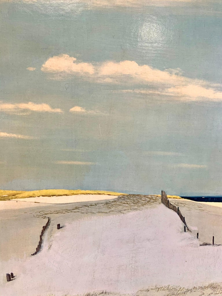Original painting of Cape Cod dunes signed by artist Ben Collins and displayed in an old wood frame.
