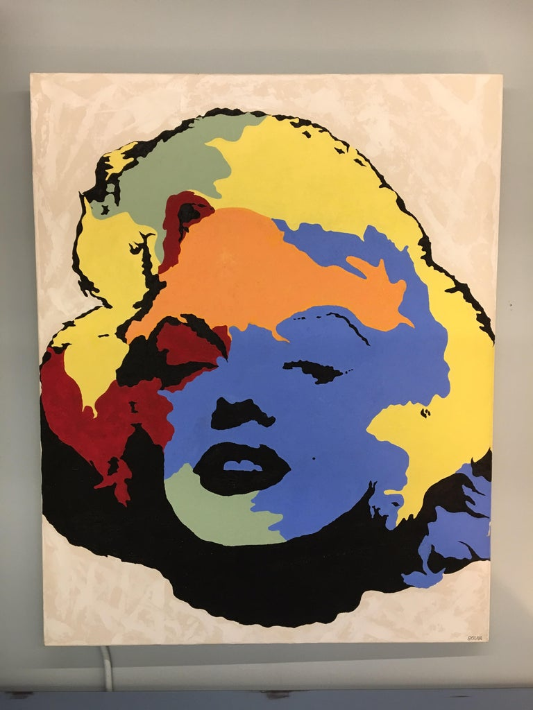 Mid-Century Modern Original Signed Painting Marilyn Monroe by Giordano For Sale