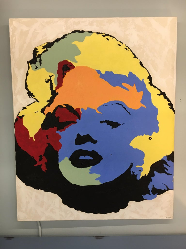 Unknown Original Signed Painting Marilyn Monroe by Giordano For Sale