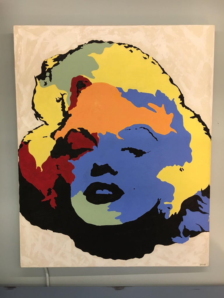 Original Signed Painting Marilyn Monroe by Giordano In Good Condition For Sale In West Hartford, CT