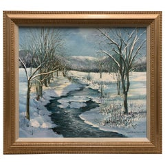 Original Signed Painting New England Winter Landscape
