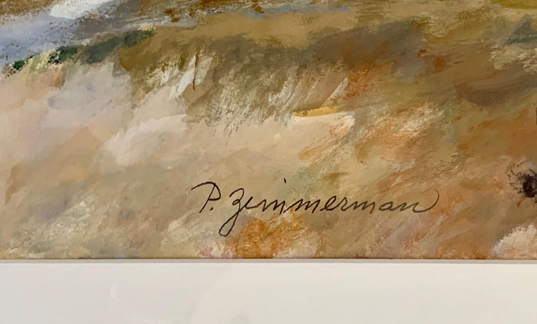 Original Signed Paul Zimmerman Watercolor Gouache Painting In Good Condition For Sale In West Hartford, CT
