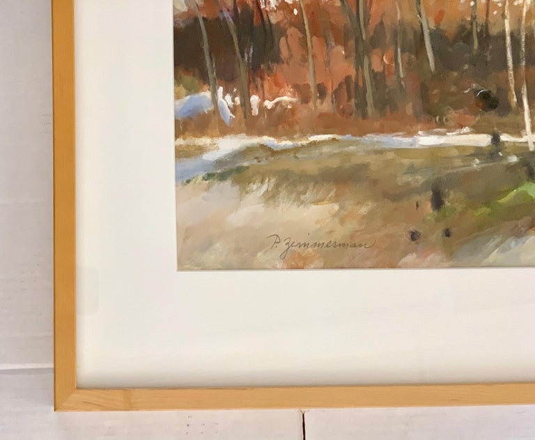 Mid-20th Century Original Signed Paul Zimmerman Watercolor Gouache Painting For Sale