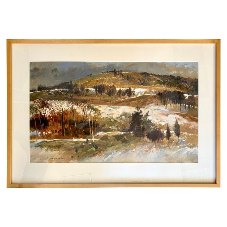 Original Signed Paul Zimmerman Watercolor Gouache Painting For Sale