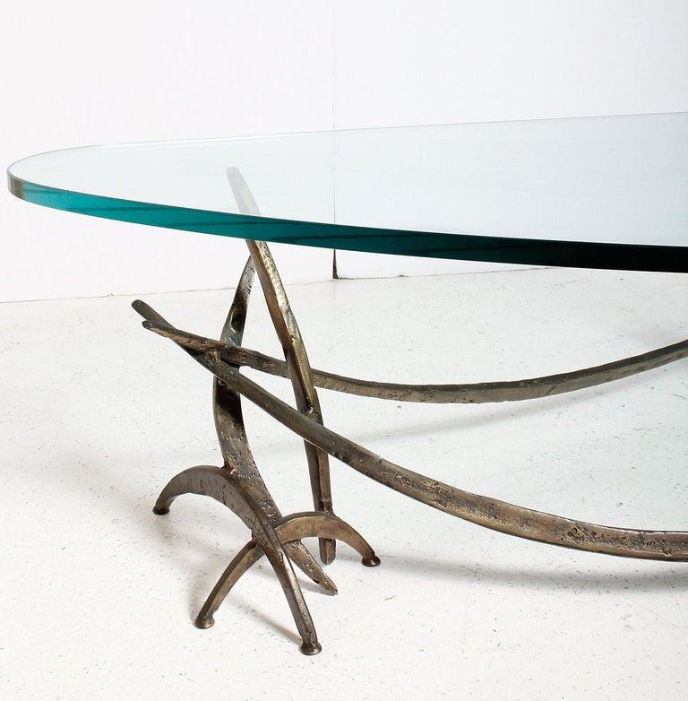Original Signed Silas Seandel Cast Bronze Brutalist Coffee Table, 1970s USA For Sale 1