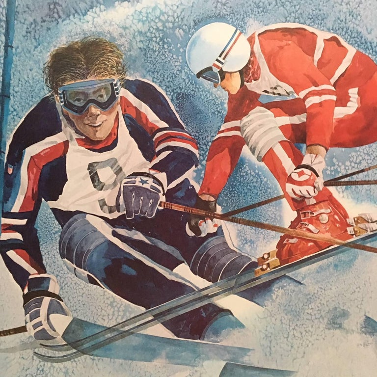 Modern Original Skiing Poster from the 1980 Winter Olympics in Lake Placid For Sale