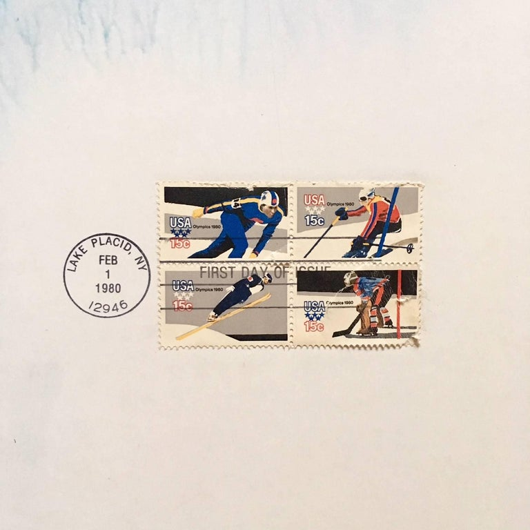 American Original Skiing Poster from the 1980 Winter Olympics in Lake Placid For Sale
