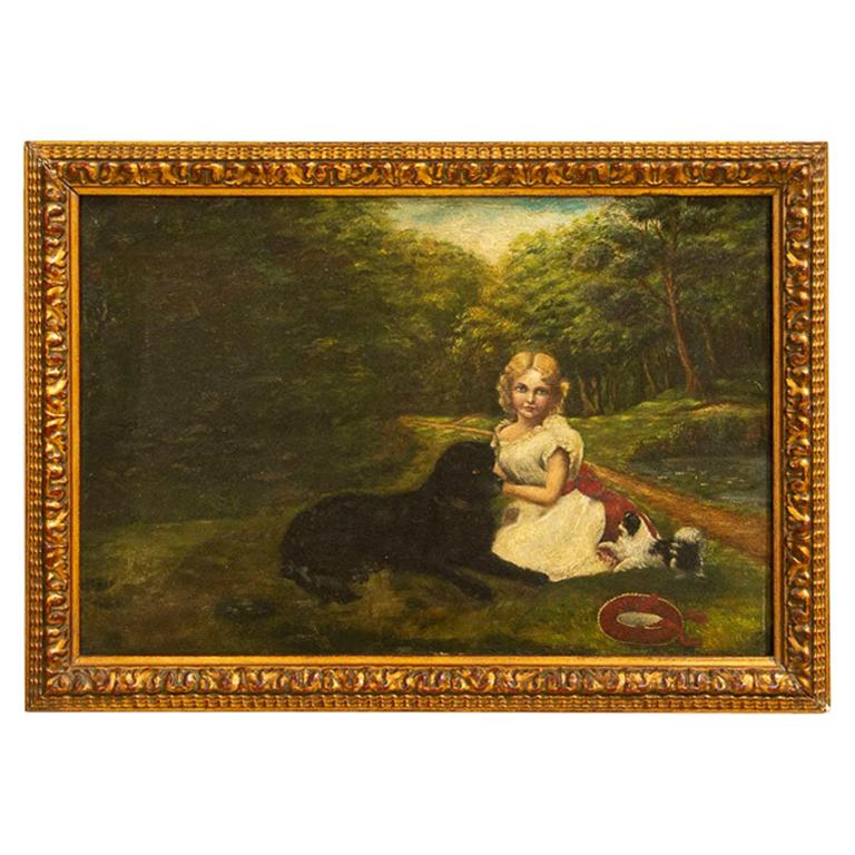 Original Small Oil on Canvas Painting of Girl and Dogs