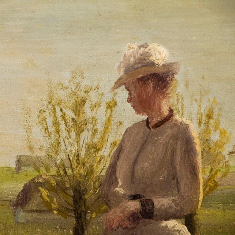 Danish Original Small Oil Painting of Woman on a Summer Day, Unsigned For Sale