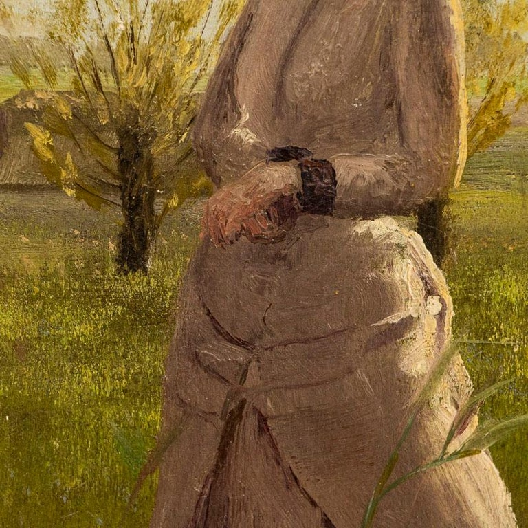 Original Small Oil Painting of Woman on a Summer Day, Unsigned In Good Condition For Sale In Round Top, TX