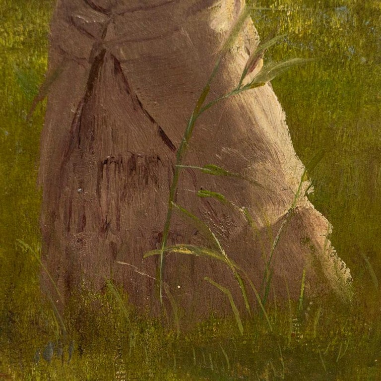 19th Century Original Small Oil Painting of Woman on a Summer Day, Unsigned For Sale