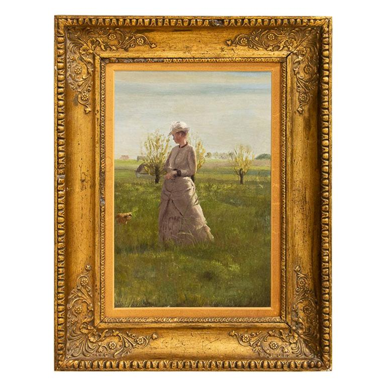 Original Small Oil Painting of Woman on a Summer Day, Unsigned For Sale