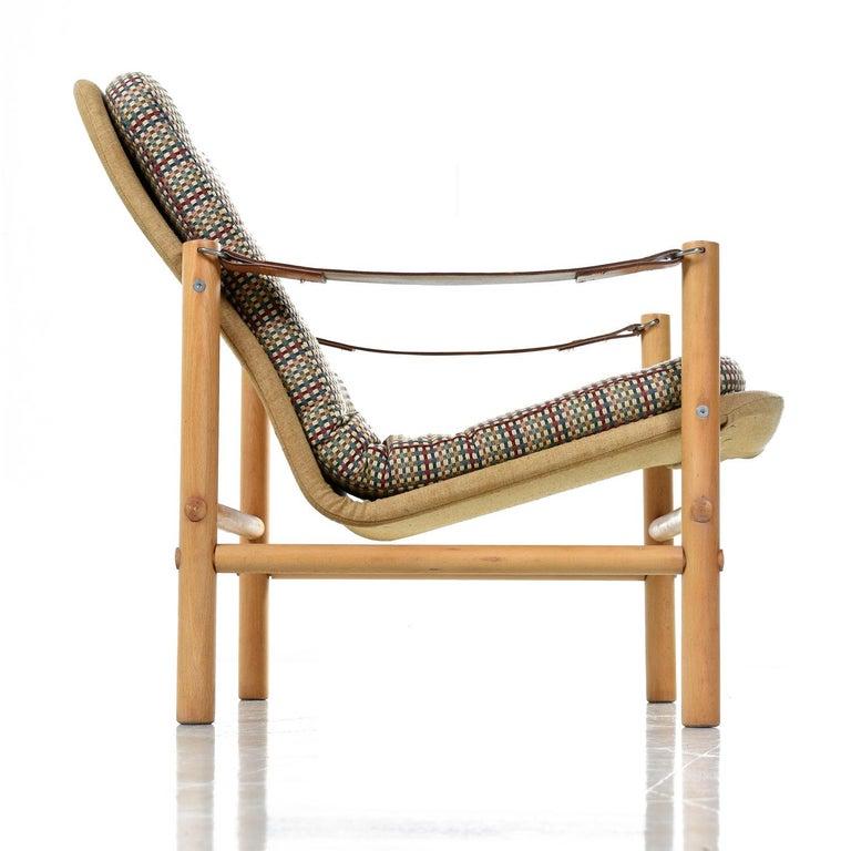 Mid-Century Modern Original Solid Beechwood DUX Safari Junker Chairs by Bror Boije Made in Sweden For Sale