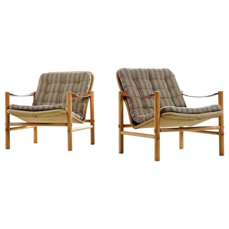 Original Solid Beechwood DUX Safari Junker Chairs by Bror Boije Made in Sweden For Sale